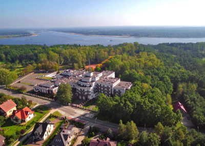 Training & recreational resort in Serock at Narew river - aerial view