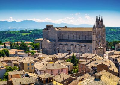 Panoramic view of the old town of Orvieto with Orvieto Duomo, Umbria, Italy.