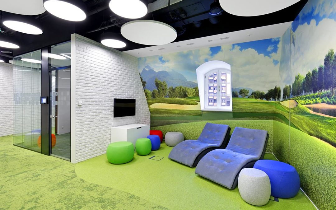 How about some golf field in the office? Why not?…