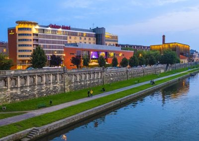 Cracow Old Town, evening view of the Qubus hotel in the Podgorze district, by the Vistula river