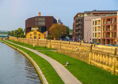 Cracow Old Town, panoramic view of the newly renovated historic Podgorze district by the Vistula river