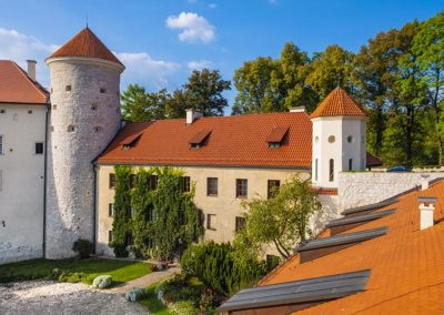 Historic castle Pieskowa Skala by the Pradnik river in the Ojcowski National Park in Poland