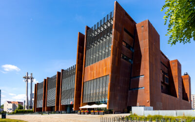 Modern-industrial European Solidarity Center in Gdańsk
