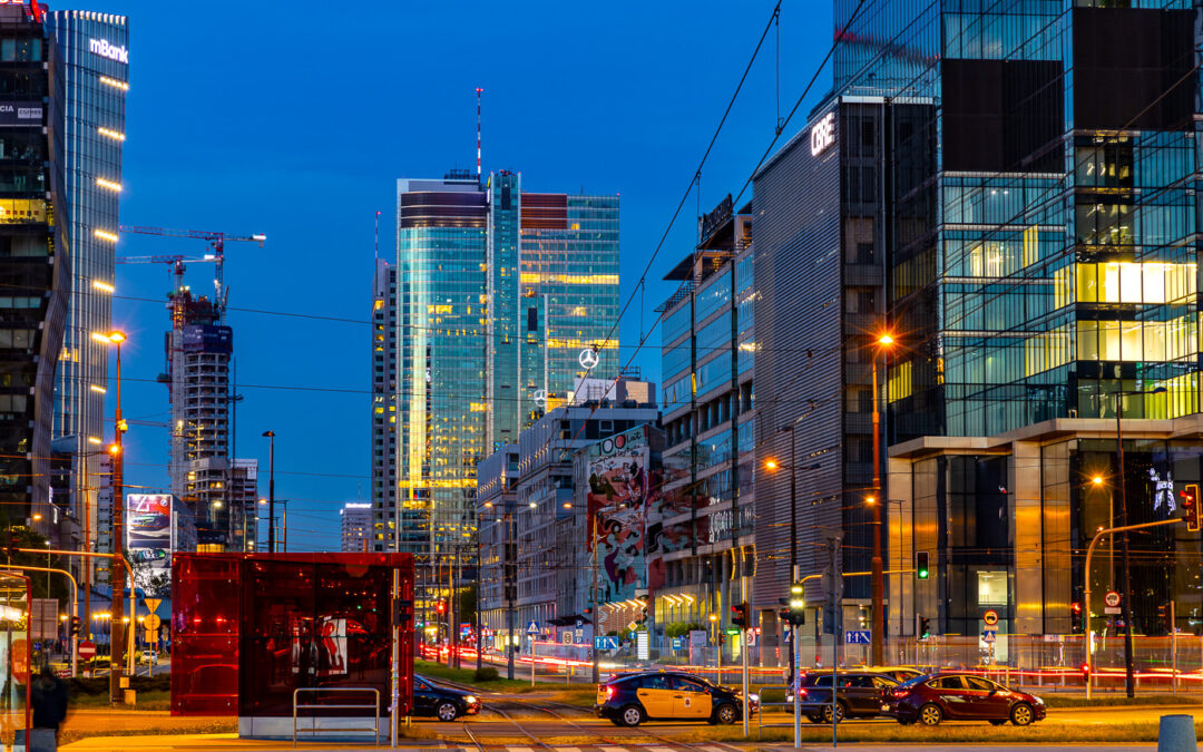Evening colors and shapes of central Warsaw